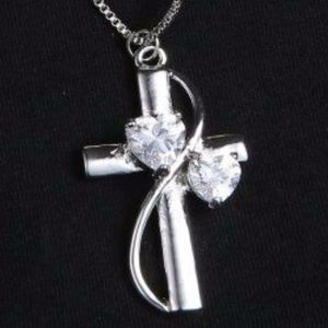 Jewelry - Silver cross with CZ Hearts